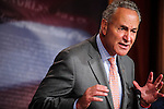 Senate Democratic Conference Vice Chairman CHUCK SCHUMER (D-NY) speaks to the media during a news conference on Capitol Hill Thursday where they talked about the House's failure to act on Senate-passed legislation in this Congress.