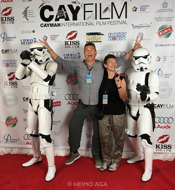 Grand Cayman. The Ritz-Carlton. CayFilm International Film Festival. Heimo Aga + Nicole Schmidt with Stormtroopers.