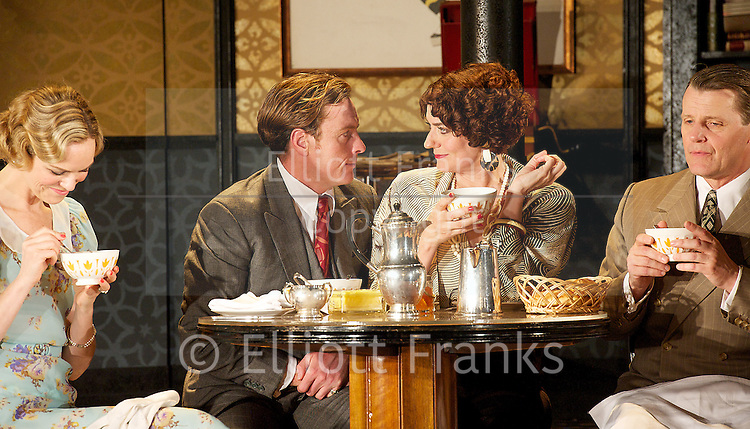 Private Lives <br /> by Noel Coward<br /> at The Gielgud Theatre, London, Great Britain <br /> press photocall <br /> 25th June 2013 <br /> directed by Jonathan Kent <br /> <br /> Toby Stephens <br /> (as Elyot Chase)<br /> <br /> Anna Chancellor<br /> (as Amanda Prynne)<br /> <br /> <br /> Photograph by Elliott Franks