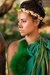 Hawaii: Molokai, young woman at protocol spiritual ceremonies at Kaupoa Beach..Photo himolo212-71982..Photo copyright Lee Foster, www.fostertravel.com, lee@fostertravel.com, 510-549-2202