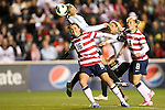 20 October 2012: Rachel Buehler (USA) (16) defends against Alexandra Popp (GER) (above). The United States Women's National Team played the Germany Women's National Team at Toyota Park in Bridgeview, Illinois in a women's international friendly soccer match. The game ended in a 1-1 tie.