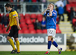 St Johnstone v Livingston...24.08.11   Scottish Communities League Cup Round 2.Willie Gibson holds his head after missing a chance to make it 4-0.Picture by Graeme Hart..Copyright Perthshire Picture Agency.Tel: 01738 623350  Mobile: 07990 594431
