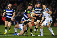 Ollie Devoto of Bath Rugby takes on the Newcastle Falcons defence. Aviva Premiership match, between Bath Rugby and Newcastle Falcons on March 18, 2016 at the Recreation Ground in Bath, England. Photo by: Patrick Khachfe / Onside Images