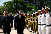 United States Secretary of Defense Leon Panetta is accompanied by Minister of Defense Ehud Barak of Israel during an Israeli Defense Honor Cordon in Tel Aviv, Israel, October 3, 2011. .Mandatory Credit: Jacob N. Bailey / USAF via CNP