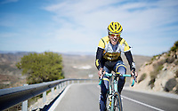 Kevin De Weert (BEL/LottoJumbo) putting in a grand uphill effort<br /> <br /> Team Lotto Jumbo winter training camp<br /> Moj&aacute;car, Spain, January 2015