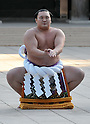 Hakuho, Tokyo, Japan, January 6, 2012 :Mongolian grand sumo champion Yokozuna Hakuho performs during  the &quot;ring entering ceremony&quot; for dedication at Meiji Shrine, Tokyo, Japan, on January 6, 2012. (Photo by AFLO)