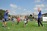 Action from the passing clinic. Bath Rugby Family Festival of Rugby, on August 8, 2015 at the Recreation Ground in Bath, England. Photo by: Patrick Khachfe / Onside Images