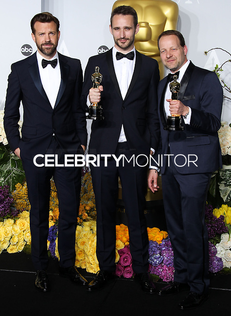 HOLLYWOOD, LOS ANGELES, CA, USA - MARCH 02: Jason Sudeikis, Anders Walter, Kim Magnusson at the 86th Annual Academy Awards - Press Room held at Dolby Theatre on March 2, 2014 in Hollywood, Los Angeles, California, United States. (Photo by Xavier Collin/Celebrity Monitor)