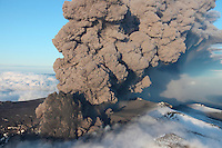 Aerial image of the eruption and ash cloud of Eyjafjallajökull Volcano, Iceland.
