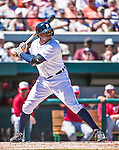 14 March 2014: Detroit Tigers outfielder Rajai Davis at bat during a Spring Training Game against the Washington Nationals at Joker Marchant Stadium in Lakeland, Florida. The Tigers defeated the Nationals 12-6 in Grapefruit League play. Mandatory Credit: Ed Wolfstein Photo *** RAW (NEF) Image File Available ***