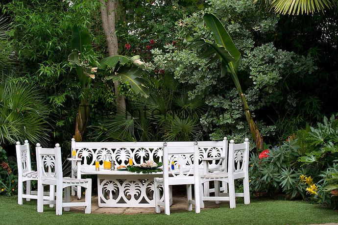 The wooden garden table and chairs have hand-carved palm tree motifs