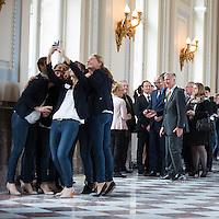 King Philippe and Queen Mathilde of Belgium meet with Belgian athletes - Belgium