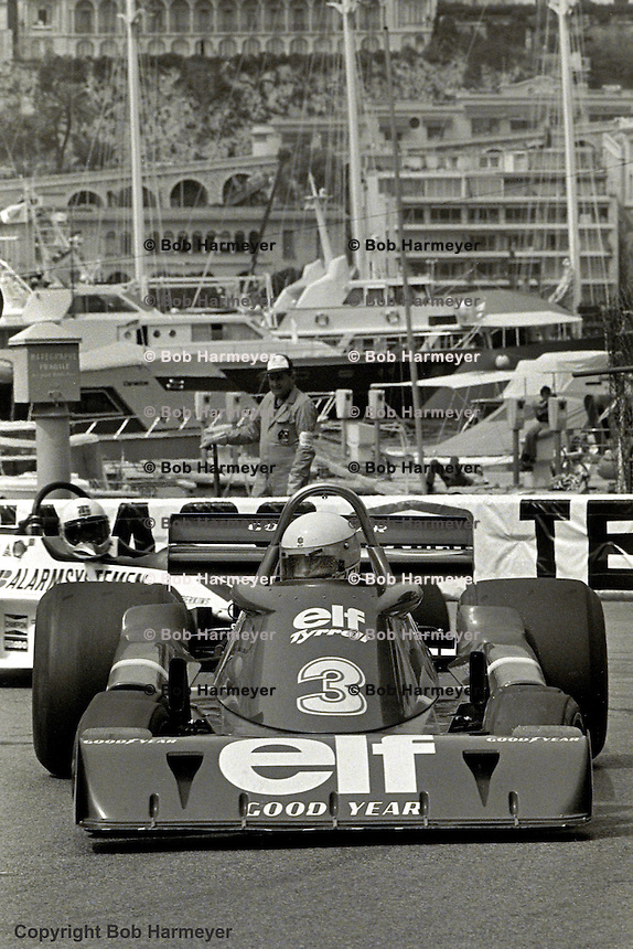 MONTE CARLO - MAY 30: Jody Scheckter drives the Tyrrell P34 3/Ford Cosworth DFV during practice for the Monaco Grand Prix on May 30, 1976, on the Circuit de Monaco in Monte Carlo, Monaco.