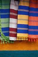 Hand woven Mexican textiles in the village of Jalieza, Oaxaca, Mexico