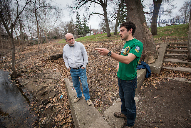 Apr. 13, 2014; Gary A. Gilot, Director of Engineering Leadership and Community Engagement for the College of Engineering, talks with Dan Courtney of the American Society of Civil Engineers (ASCE) club about a project to improve Bowman Creek in Ravina Park in South Bend.<br /> <br /> Photo by Matt Cashore/University of Notre Dame
