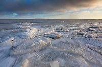 Ice packs up along the shore of the Beaufort sea on Barter Island in Alaska's arctic.