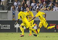 CARSON, CA - July 4, 2013: Columbus Crew defender Josh Williams (3) celebrates his goal during the LA Galaxy vs Columbus Crew match at the StubHub Center in Carson, California. Final score, LA Galaxy 2, Columbus Crew 1.