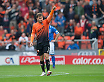 Dundee United v St Johnstone...24.08.13      SPFL<br /> David Goodwillie celebrates his goal<br /> Picture by Graeme Hart.<br /> Copyright Perthshire Picture Agency<br /> Tel: 01738 623350  Mobile: 07990 594431