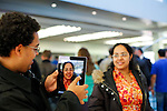 People try the new iPad inside apple's store at the fifth avenue in New York, United States. 5/01/2012. Photo by Kena Betancur / VIEWpress.