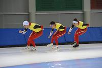 SCHAATSEN: SALT LAKE CITY: Utah Olympic Oval, 12-11-2013, Essent ISU World Cup, training, Wannes van Praet (BEL), Maarten Swings (BEL), Ferre Spruyt (BEL), ©foto Martin de Jong