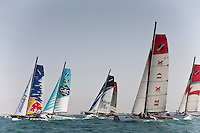 Extreme Sailing Series 2011. Leg 1. Muscat. Oman.Day 2 of racing as the fleet cross the start line..