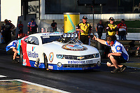 May 31, 2013; Englishtown, NJ, USA: NHRA crew member for pro mod driver Mike Janis during qualifying for the Summer Nationals at Raceway Park. Mandatory Credit: Mark J. Rebilas-