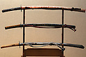June 26, 2010 - Tokyo, Japan -Long swords (katana) are on display during The 1st Sword Craftsmen Exhibition of the NBSK (Nihon Bunka Shinko Kyokai) at Okura Musem of Art located in Okura Hotel in Tokyo, Japan, on June 26, 2010. The event runs from June 13 to July 25 and let sword masters show their skills such as sword polishing, sword fittings and mounting to visitors.