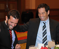 Former D.C. United player John Harkes with D.C. United Head Coach Ben Olsen,at the United Kickoff luncheon, at the Marriott hotel in Washington DC, March 5, 2012.