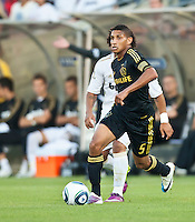 LOS ANGELES, CA – July 16, 2011: Sean Franklin (5) of the LA Galaxy during the match between LA Galaxy and Real Madrid at the Los Angeles Memorial Coliseum in Los Angeles, California. Final score Real Madrid 4, LA Galaxy 1.