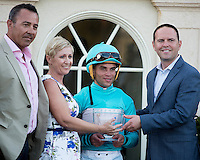 HALLANDALE BEACH, FL - FEBRUARY 04: Trophy presentation after Rymska ridden by Joel Rosario won the Sweetest Chant Stakes (G3). Trainer Chad Brown is on the right, at Gulfstream Park. (Photo by Arron Haggart/Eclipse Sportswire/Getty Images)