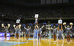"13 October 2006: UNC's cheerleaders entertain the crowd before the start of the Blue/White scrimmage. The University of North Carolina at Chapel Hill Tarheels held their first Men's and Women's basketball practices of the season as part of ""Late Night with Roy Williams"" at the Dean E. Smith Center in Chapel Hill, North Carolina."