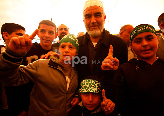 Sheikh Raed Salah, the leader of the Islamic Movement in Israel, pose following the Friday prayers in a sit-in tent against the continuing 'Judaization of Jerusalem' by Jewish settlers, in the mostly Arab neighbourhood of Silwan in east Jerusalem on Jan. 25, 2013. Photo by Mahfouz Abu Turk