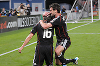DC United forward Josh Wolff (16) celebrates with team mate Chris Pontius (13) his score in the 31th minute of the game.   DC United defeated The Seattle Sounders 2-1 at  RFK Stadium, Wednesday May 4, 2011.