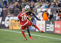 Foxborough, Massachusetts - May 2, 2015:  The New England Revolution (red and white) beat the New York Red Bulls (blue and yellow) 2-1 in a Major League Soccer (MLS) match at Gillette Stadium.