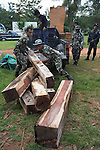 Thap Lan rangers unload Siam rosewood (Dalbergia cochinchinensis) confiscated from poachers, Thap Lan National Park, Dong Phayayen-Khao Yai Forest Complex, eastern Thailand (August 2014)