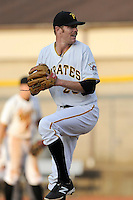 Pitcher Collin Balester (28) of the Bristol Pirates delivers a pitch in a game against the Greeneville Astros on Saturday, July 26, 2014, at DeVault Memorial Stadium in Bristol, Virginia. Balester was on a Major League rehab assignment. Greeneville won, 2-1 in Game 1 of a doubleheader. (Tom Priddy/Four Seam Images)