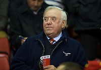 LIVERPOOL, ENGLAND - Thursday, October 4, 2012: Liverpool supporter and comedian Jimmy Tarbuck watches the Reds take on Udinese Calcio during the UEFA Europa League Group A match at Anfield. (Pic by David Rawcliffe/Propaganda)