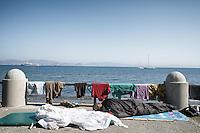 Makeshift encampments along the waterfront. Kos, Greece. Sept. 5, 2015