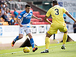 St Johnstone v Hearts&hellip;17.09.16.. McDiarmid Park  SPFL<br />Michael Coulson takes on Faycal Rherras<br />Picture by Graeme Hart.<br />Copyright Perthshire Picture Agency<br />Tel: 01738 623350  Mobile: 07990 594431