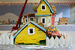 Elaborately decorated gingerbread houses are displayed at the Los Altos Community Center during the town's annual exhibit.