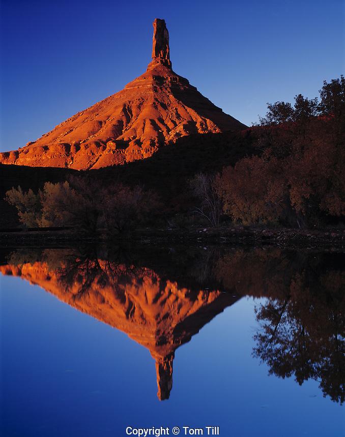 Castle Rock Reflected in Desert Pond, Proposed La Sal Waters Wilderness, Utah