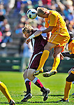 18 September 2011: University of Vermont Catamount Defender Scott Kisling, a Sophomore from Colorado Springs, CO, goes up against Harvard University Crimson Forward Connor McCarthy, a Sophomore from Ridgefield, CT, at Centennial Field in Burlington, Vermont. The Catamounts shut out the visiting Crimson 1-0, earning their 3rd straight victory of the 2011 season. Mandatory Credit: Ed Wolfstein Photo