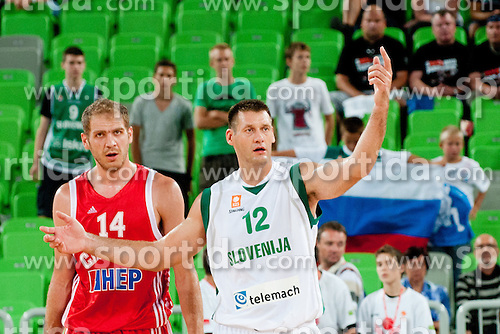 Goran Jagodnik of Slovenia and Luka Zoric of Croatia at friendly match between Slovenia and Croatia for Adecco Cup 2011 as part of exhibition games before European Championship Lithuania on August 8, 2011, in SRC Stozice, Ljubljana, Slovenia. (Photo by Matic Klansek Velej / Sportida)