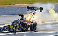 May 15, 2016; Commerce, GA, USA; NHRA top fuel driver Leah Pritchett explodes an engine on fire during the Southern Nationals at Atlanta Dragway. Mandatory Credit: Mark J. Rebilas-USA TODAY Sports