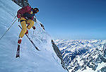 The French extreme skier Patrick Vallencant (1946-1989) skiing the South Face of the Grandes Jorasses on the Italian side of the Massif of Mont Blanc in 1987.  Vallencant was killed in a nonskiing related climbing accident in the South of France in 1989.  In addition to numerous first descents throughout the world, Vallencant popularized his exploits in a series of films and created his own line of ski clothing, Degre 7.