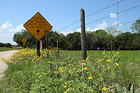 """Road side in spring with """"Bridge Ahead""""."""