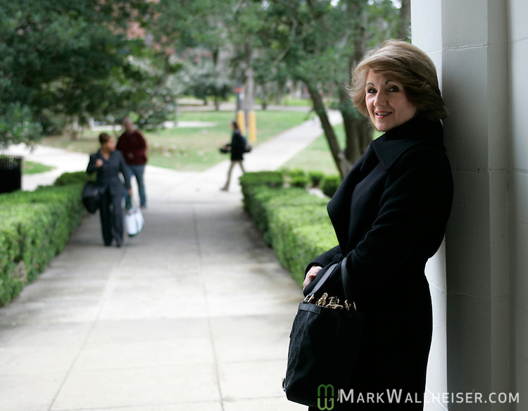 Ginger Wetherell, wife of Florida State president T.K. Wetherell on campus in Tallahassee, Florida January 24, 2007.  (Mark Wallheiser/TallahasseeStock.com)