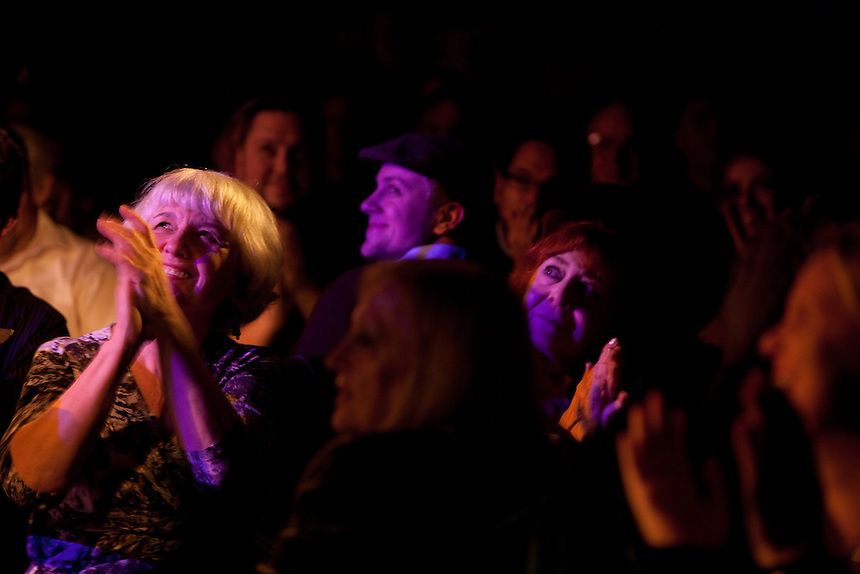 The audience applauds as tenor Joseph Calleja performs at Le Poisson Rouge on October 24, 2011.