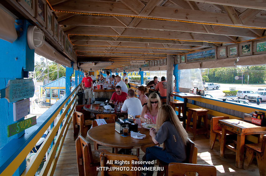 Upper deck of restaurant Wahoo's, Islamorada island, Florida