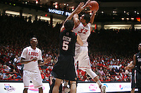 18 January 2012:  New Mexico Lobos #32 Drew Gordon drives to the net. San Diego State Aztecs defeated the New Mexico Lobos Lobos 75 - 70 at The Pit in Albuquerque, NM.